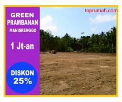Tanah SHM,Green Prambanan PANGKAS 25%
